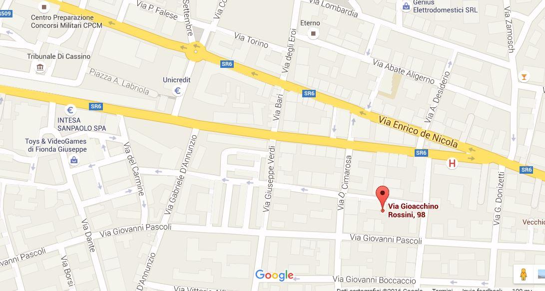 mappa cassino negozi affitto via rossini